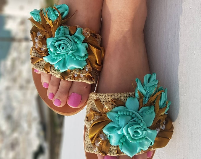 Greek sandals/embroidered/women shoes/handmade sandals slides/crystal sandals/bridal sandals/wedding sandals/summer shoes/roses/leather shoe