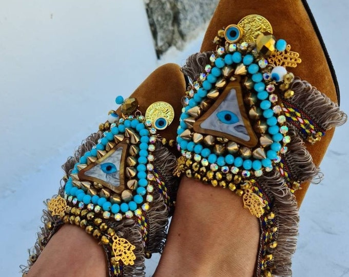 Leather shoes/evil eye shoes/handmade shoes/crystals beads shoes/women shoes/bohemian shoes/boho shoes/studs shoes/ethnic shoes/fashion shoe