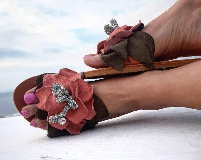 Greek sandals/leather flower/handmade/crystal rhinestones sandals slides/women shoes/luxury/summer shoes/bohemian/flat/leather sandals slide