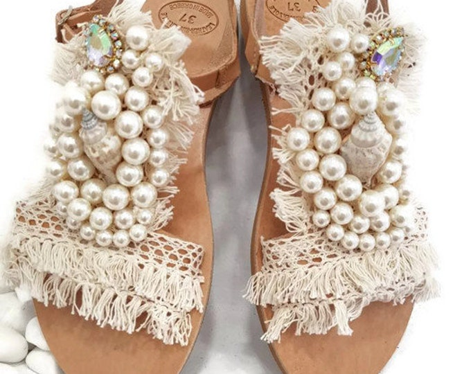 Greek sandals,crystal sandals,luxury sandals,wedding sandals,bridal sandals,shells,pearls sandals,summer shoes,flats,handmade