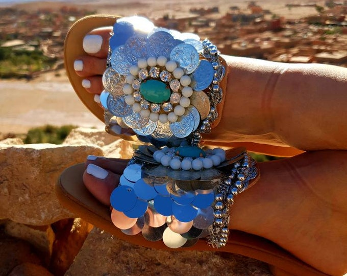 Greek sandals/bohemian/boho sandals/handmade sandals/ethnic sandals/hippie/crystal sandals/slides sandals/summer shoes/women sandals/leather