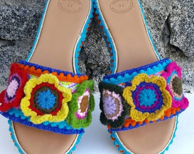 Greek sandals/wedges/slides/colorful/pompom/crochet/handmade/women shoes/boho/ethnic/boho sandals/luxury sandals/heel/embellished