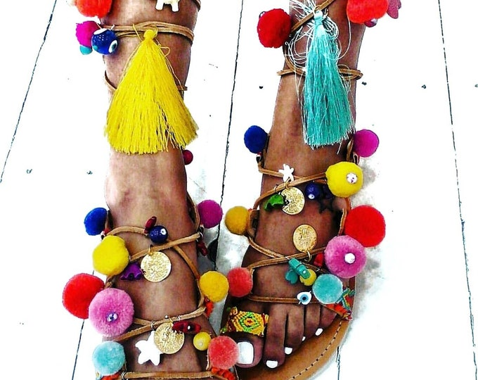 Greek sandals/pompom sandals/ethnic/boho sandals/colorful/handmade/gypsy/women shoes/gladiator sandals/strappy sandals/summer shoes/evil eye