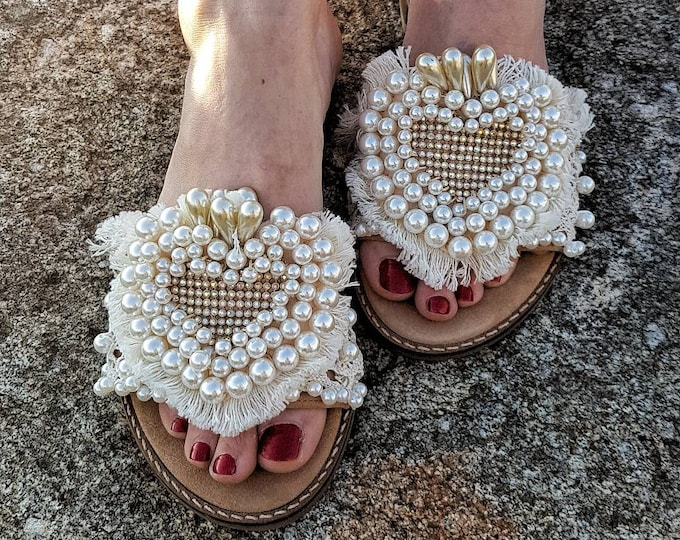 Greek sandals/pearls sandals slides with heel/heel sandals slides/crystals rhinestones sandals/fringes sandals slides/handmade/wedding/bride