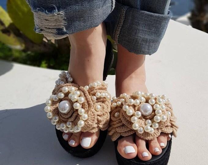 Greek sandals/leather wedges/crochait sandals/handmade/pearls sandals/luxury wedges/women shoes/wedding/bridal/heel sandals/boho
