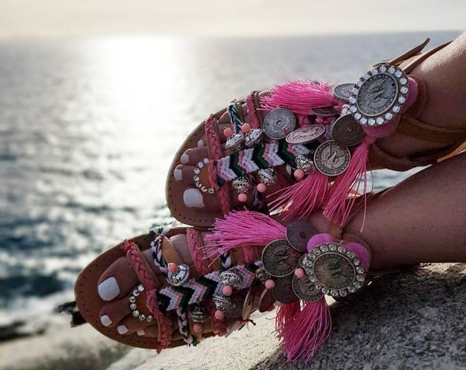 Greek sandals/gladiator sandals/strappy sandals/luxury sandals/crystals sandals/boho sandals/ethnic sandals/Handmade/women shoes
