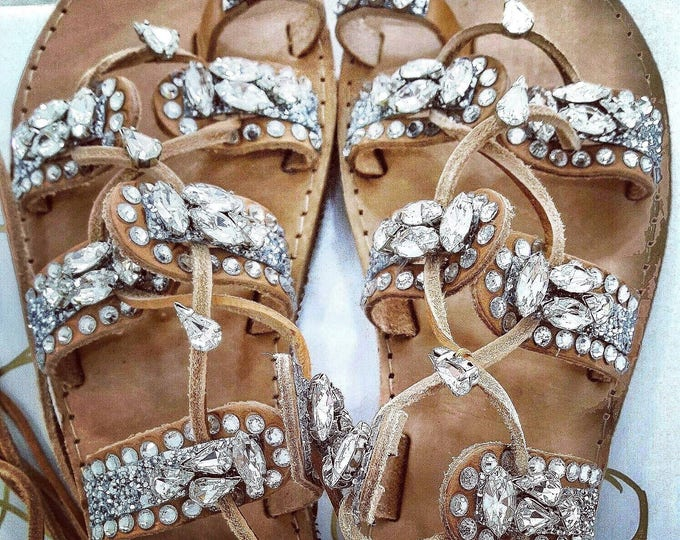 Greek sandals/gladiator sandals/crystals sandals/women sandals/wedding sandals/bridal sandals/strappy sandals/boho/luxury sandals