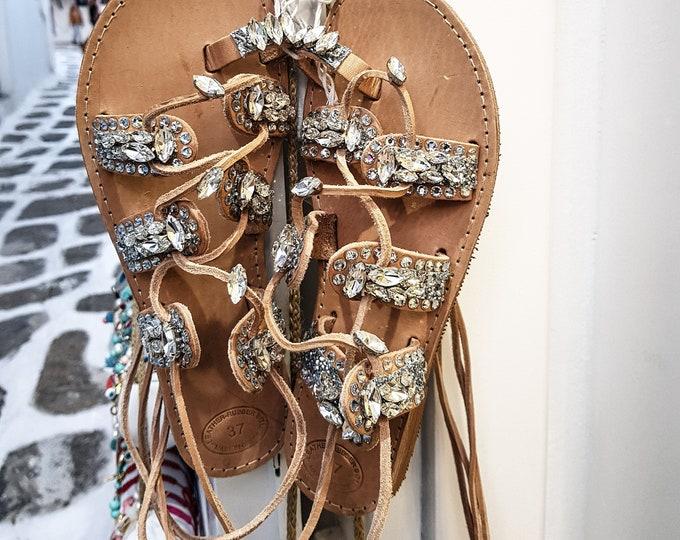 Greek sandals/gladiator sandals/crystals sandals/women sandals/wedding sandals/bridal sandals/strappy sandals/boho/luxury sandals