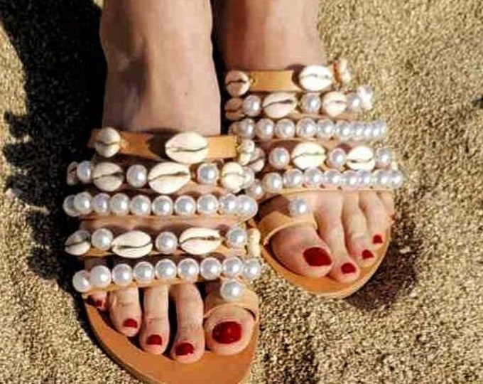 Greek sandals/shells sandals/pearls sandals/handmade sandals /women sandals/boho sandals/bohemian sandals/leather sandals/summer shoes/flats