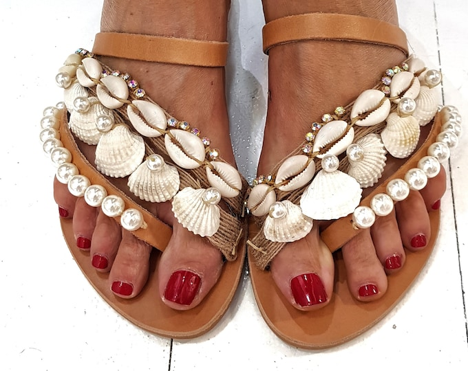 Greek sandals/seashells sandals/gladiator sandals/strappy sandals/pearls sandals/boho sandals/bohemian sandals/women shoes/wedding/handmade