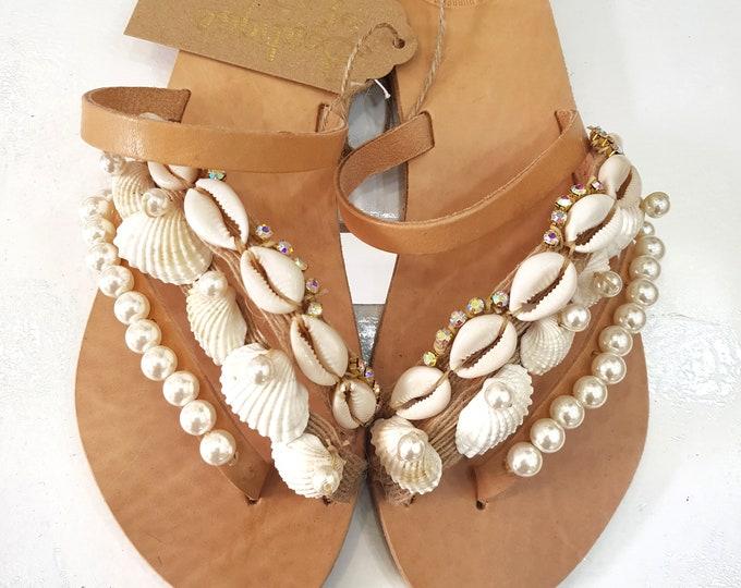 Greek sandals/seashells sandals/gladiator sandals/strappy sandals/pearls sandals/boho sandals/bohemian sandals/women shoes/wedding/handmade