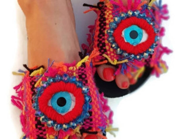 Greek sandals slides/evil eye sandals/boho sandals/handmade sandals/colorful sandals/ethnic sandals/embroidered/Greek evil eyes/crystal bead