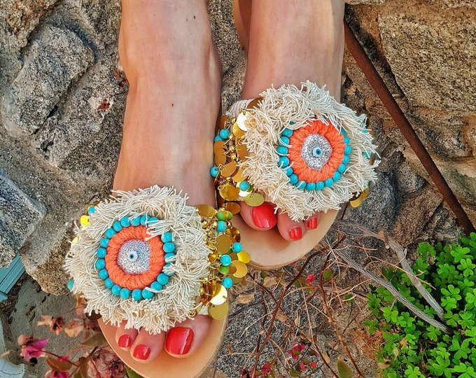 Greek sandals slides/boho sandals/evil eyes/handmade sandals slides/ethnic sandals/leather sandals/women shoes/summer shoes/fringes sandals