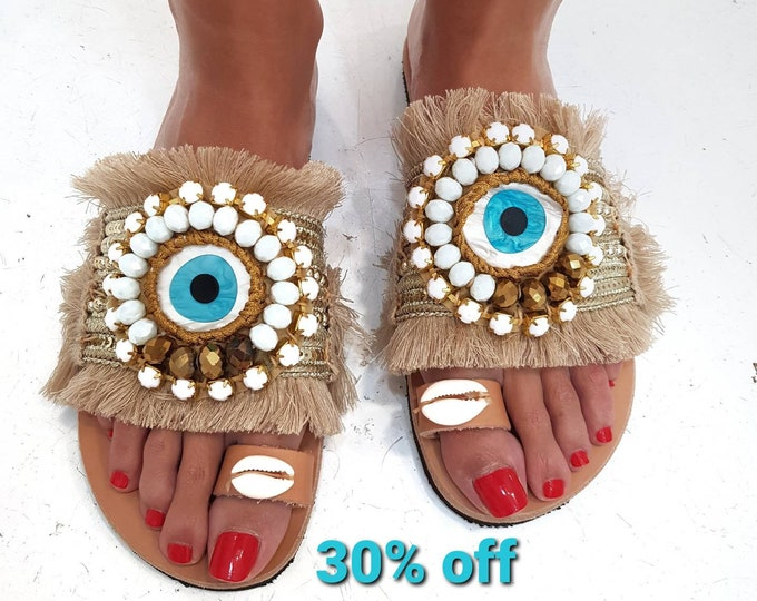 Greek sandals/evil eye sandals/boho sandals/crystal sandals/handmade/shells/women shoes/summer shoes/ethnic sandals/fringes sandal/bohemian