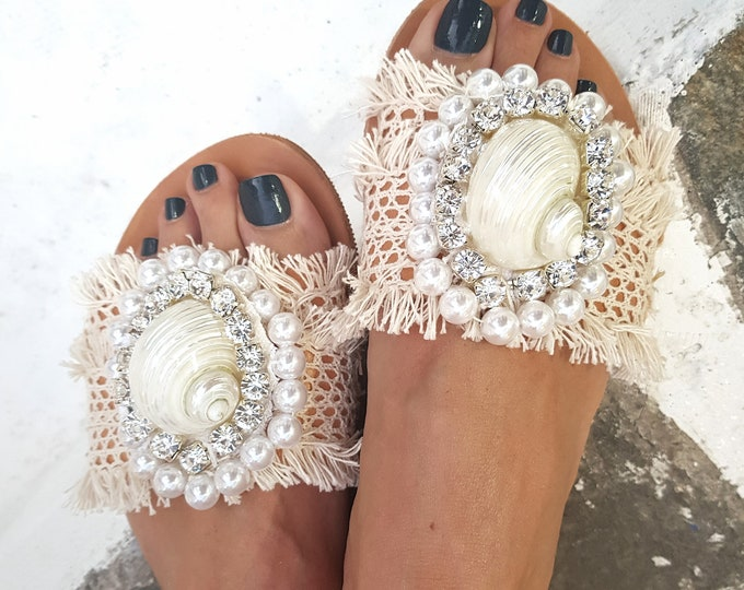 slides sandals/sea shell sandals/crystal sandals/wedding sandals/handmade slides/qenuine leather sandals/flats/luxury/women Greek sandals
