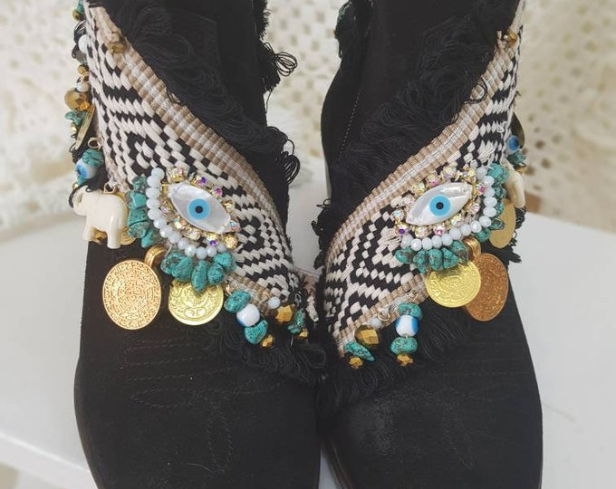 Western boots/cowboy boots/handmade boots/evil eye boots/leather boots/boho shoes/bohemian boots/women boots/embellished boots/suede black