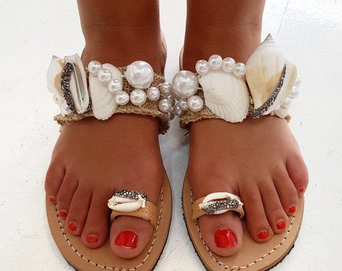 Greek sandals/gladiator sandals/shells sandals/boho sandals/handmade/crystal sandals/luxury sandals/wedding/bridal/women shoes/pearls sandal