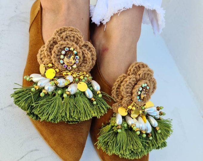 Greek leather shoes/fringes shoes handmade crochet shoes/bohemian shoes/boho shoes/crystals shoes/pearls shoes/women shoes/coins shoes