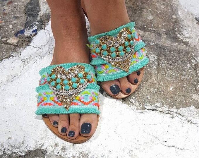 Greek handmade sandals slides/boho sandals/mint slides sandals/genuine leather/crystals/boho mint lace/sparkly/women sandals/luxury/flats