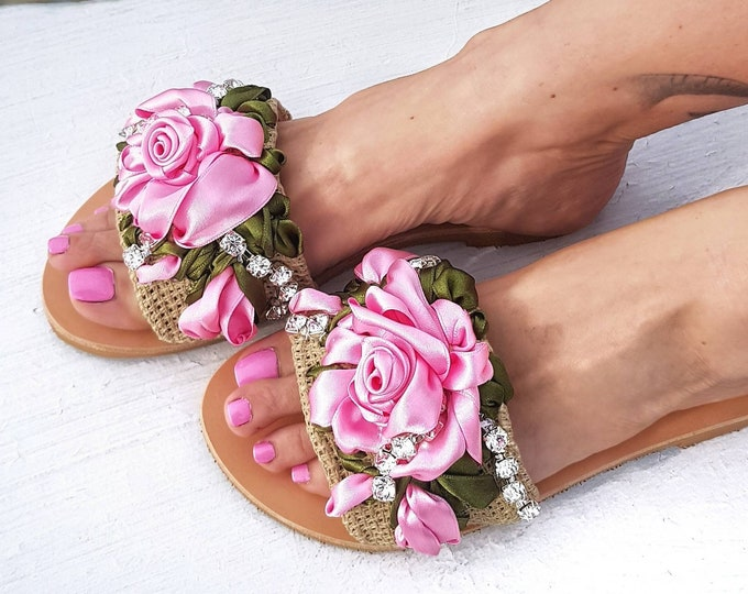 Greek sandals slides/embroidery/pink roses/handmade/crystal sandals/luxury sandals/wedding sandals/flats/women shoes/summer shoes/leather
