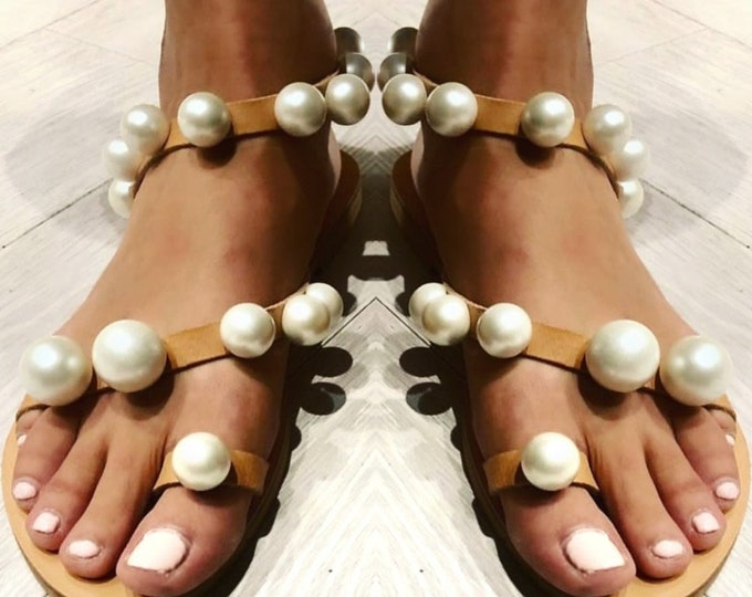 Greek sandals/pearl sandals/gladiator sandals/women shoes/boho sandals/leather sandals/embellished/luxury sandals/wedding sandals/summer
