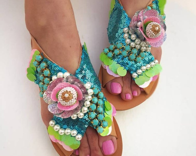 Greek sandals/handmade sandals/strappy sandals/luxury sandals/boho sandals/sequined sandals/pearl sandals/qenuine leather/women flat shoes