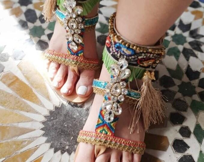 Greek sandals/boho sandals/tassels sandals/crystal sandals/handmade sandals/strappy sandals/gladiator sandals/colorful sandals/women shoes