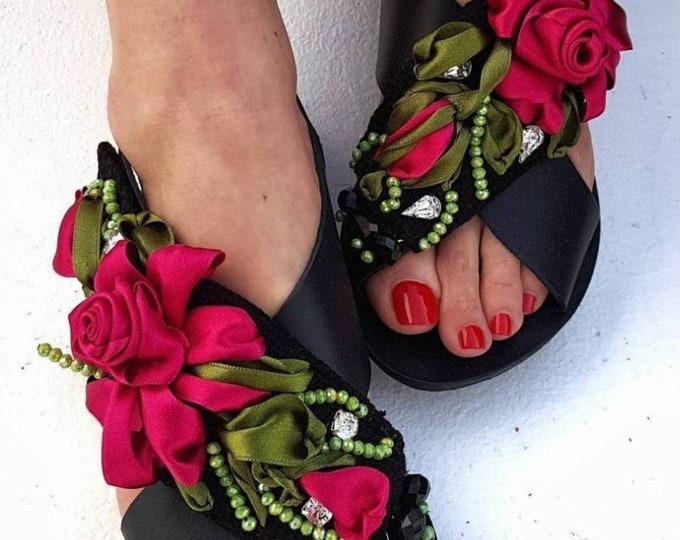 Greek sandals/handmade sandals/gladiator/strappy sandals/embroidery/crystal sandals/beads/luxury sandals/women shoes/flats/summer shoes/boho