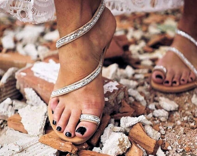 Greek sandals/strappy sandals/crystals sandals/gladiator sandals/handmade sandals/wedding sandals/bridal sandals/women sandals/sparkle /flat