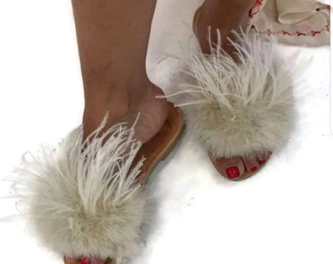 Greek sandals,slides,ostrich feathers,beige slides,women shoes,Handmade shoes,flats,leather slides,sandals,summer shoes,handmade sandals