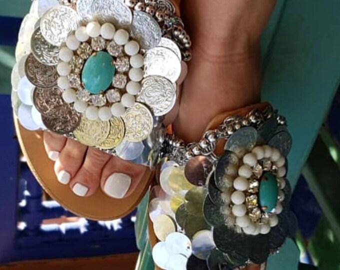 Greek sandals/bohemian/boho sandals/handmade sandals/ethnic sandals/hippie/crystal sandals/slides sandals/summer shoes/women sandals/leather