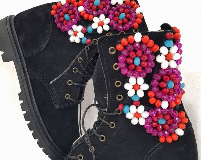 Dhl Free,handmade boots,leather shoes,suede leather boots, embellished,crystal beads boots,winter shoes,women boots,black,colorful shoes