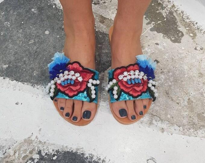 Greek handmade sandals slides/boho sandals/colorful sandals/handmade slides/qenuine leather/tassel sandals/embroidery sandals/crystals,flat