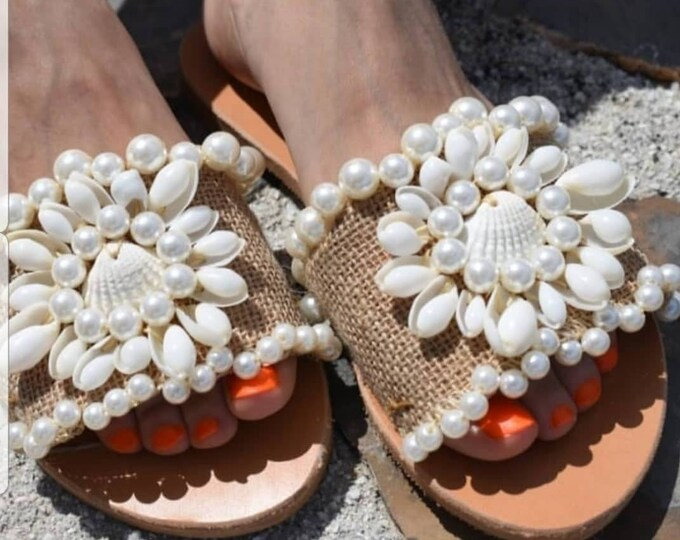 Greek sandals/seashells slides sandals/handmade/boho wedding sandals/women shoes/pearls sandals slides/leather sandals/embellished/flats