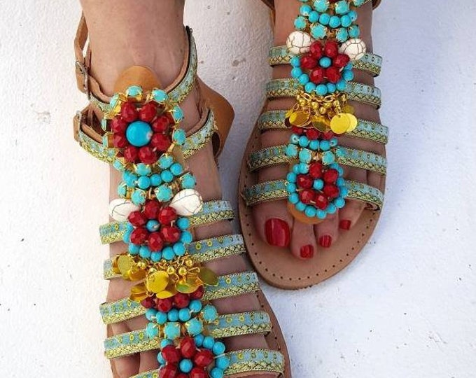 Greek sandals/handmade sandals/strappy sandals/crystals sandals/boho sandals/women shoes/summer shoes/beads sandals/flats/bohemian sandals
