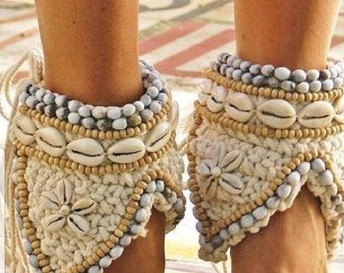Ankle bracelets/handmade ankle bracelets/crocheted ankle bracelets/boho ankle bracelet/shells ankle bracelets/beads bracelets/women bracelet