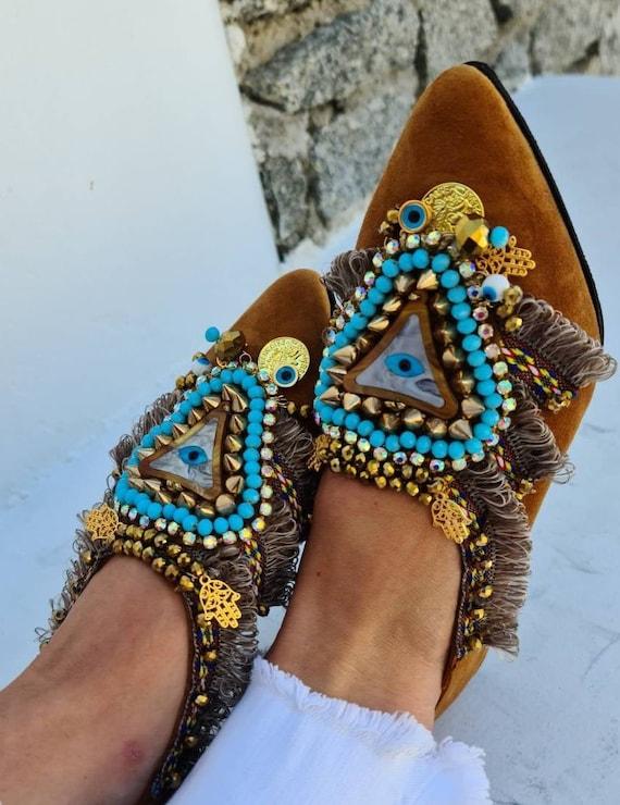 Leather shoes/evil eye shoes/handmade shoes/crystals beads shoes/women shoes/bohemian shoes/boho shoes/studs shoes/ethnic shoes/fashion shoe