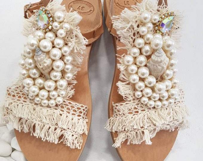 Free dhl,Greek sandals,crystal sandals,luxury sandals,wedding sandals,bridal sandals,shells,pearls sandals,summer shoes,flats,handmade
