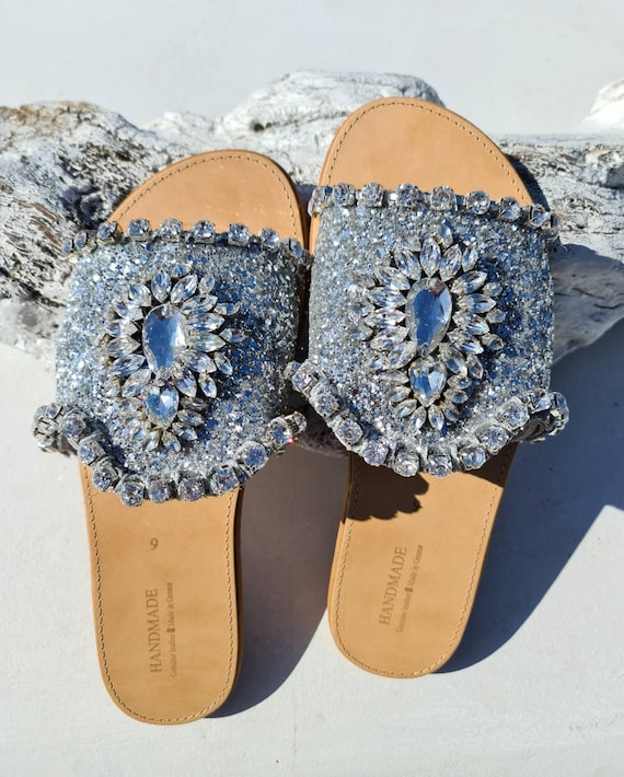 Greek sandals slides/crystals rhinestones sandals slides/sparkle/shiny/luxury sandals/wedding sandals/bridal sandals/women sandals slides