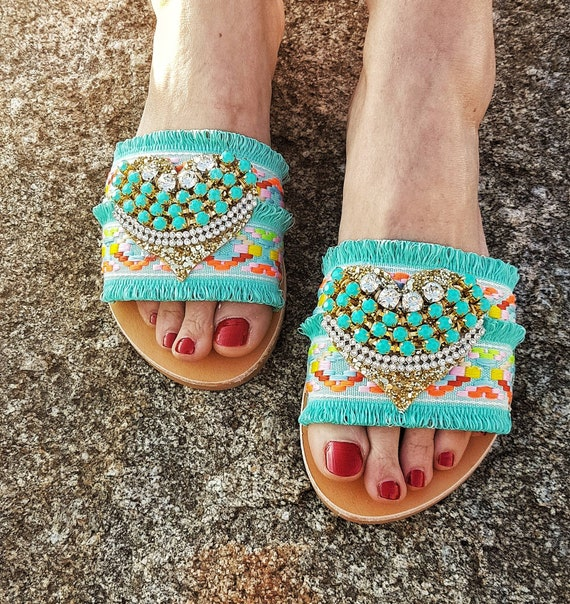 Greek handmade sandals slides/boho sandals/mint slides sandals/genuine leather/crystals/boho mint lace/sparkly/women sandals/luxury/flats
