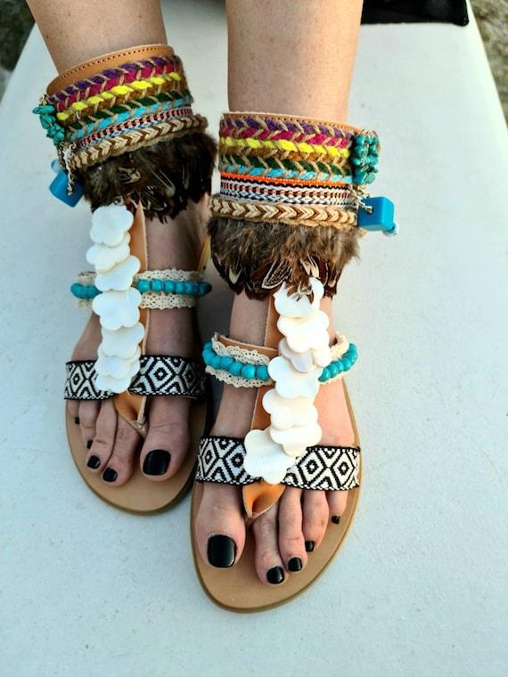 Greek Gladiator sandals/bohemian Sandals/boho Sandals/evil eyes/ethnic/strappy sandals/colorful Sandals/women shoes/genuine leather/handmade
