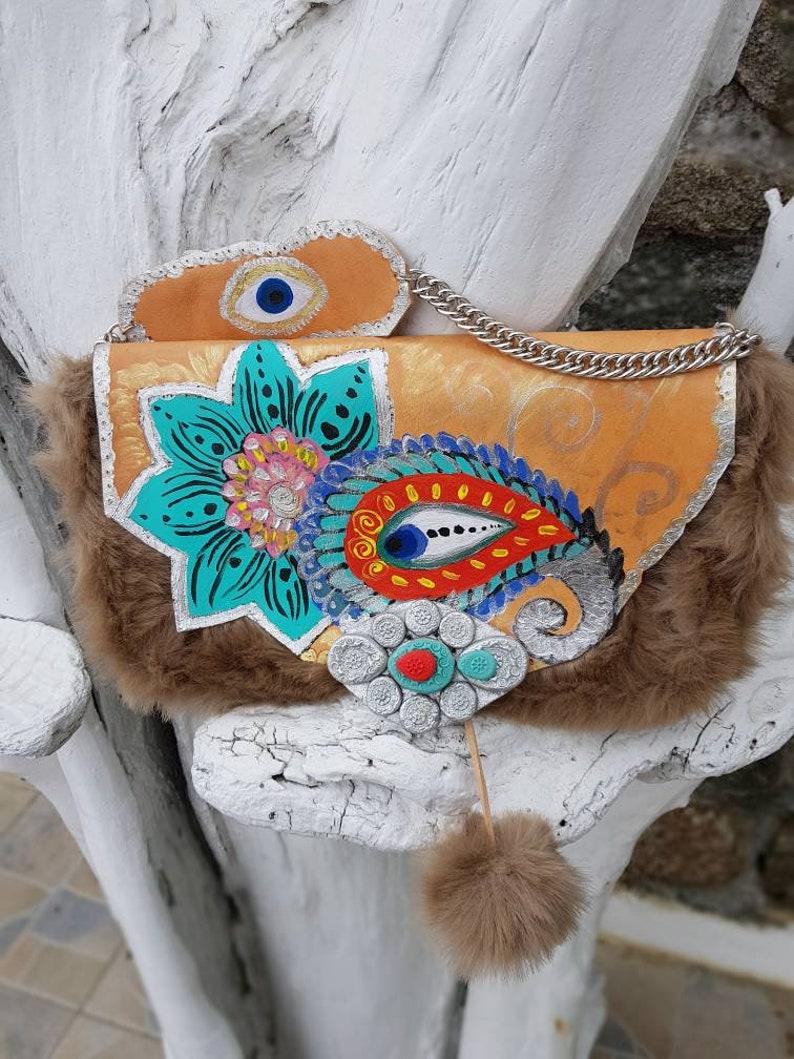 Handmade baghand painted bagevil eye bagcolorful bagboho bagethnic bagbohemian baggenuine leather bagpompom bagGreek leather bag