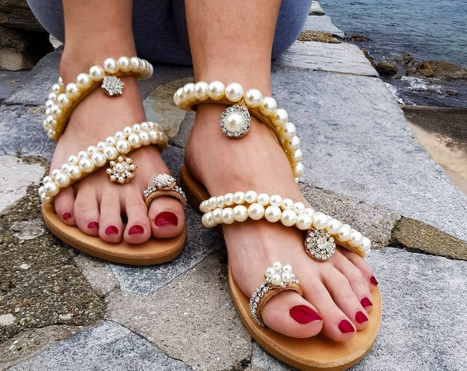 DHL FREE Greek sandals/pearl sandals/leather sandals/wedding sandals/pearls/women's shoes/bridal/handmade/sparkly/crystals sandals/flat shoe