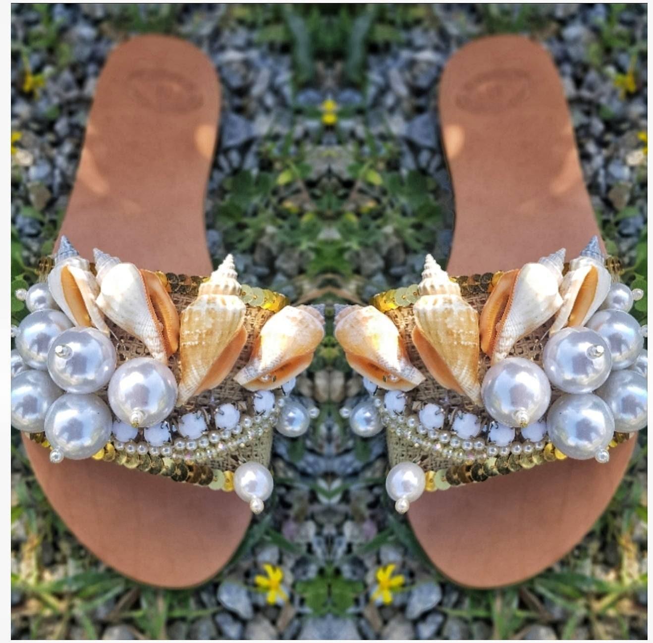 3a557c090 Greek sandals slides pearl sandals handmade slides sea shells ...