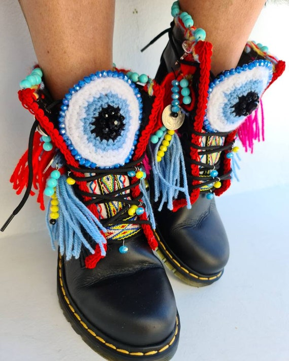 Greek leather boots/women boots/evil eyes/boho/bohemian/tassels boots/ethnic shoes/handmade/crochet/colorful boots/fashion boots