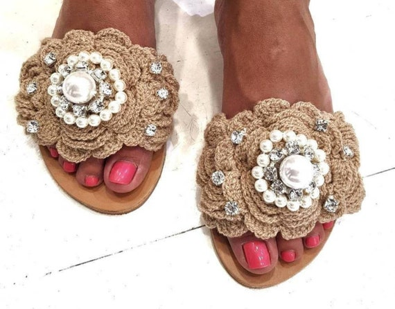 Greek sandals,handmade slides crochet,pearl slides sandals,wedding sandals,boho sandals,wedding,bridal,luxury,flats,crystals slides