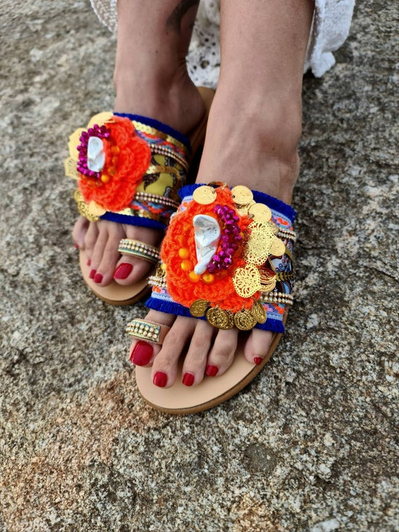 Greek leather Sandals slides/gypsy/bohemian/crochet/women shoes/handmade/colorful/bohemian/coins/crystals beads/genuine leather Sandals