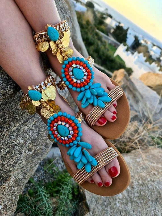 Greek sandals/gladiator sandals/boho turquoise handmade sandals/gold coins bohemian sandals/luxury ethnic sandals/women semiprecious sandals