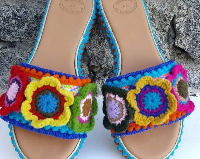 DHL FREE Greek sandals/wedges/slides/colorful/pompom/crochet/handmade/women shoes/boho/ethnic/boho sandals/luxury sandals/heel/embellished