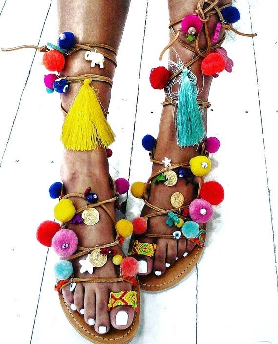Greek sandals/pompom sandals/ethnic/boho sandals/colorful/handmade/gypsy/women shoes/gladiator sandals/strappy sandals/summer shoes/evil eye